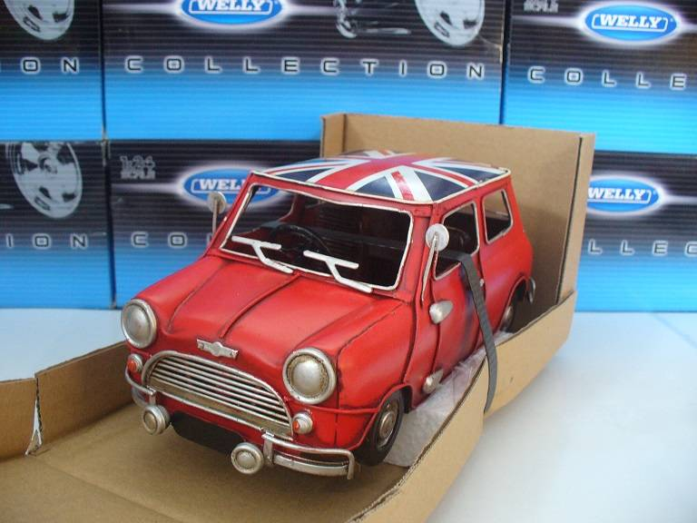 Mini Cooper Rood Engelse vlag Tinplate Collectables 1/18