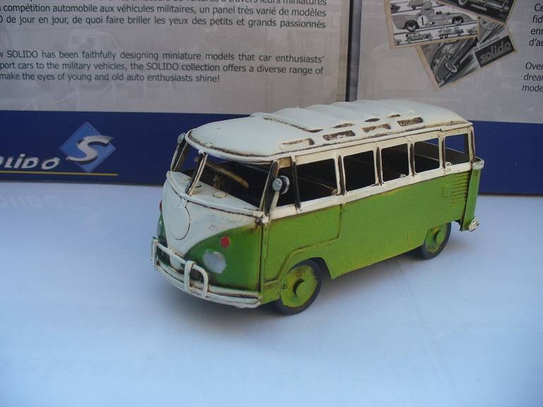 VW Volkswagen T1 Microbus Samba Groen Tinplate Collectables 1/32