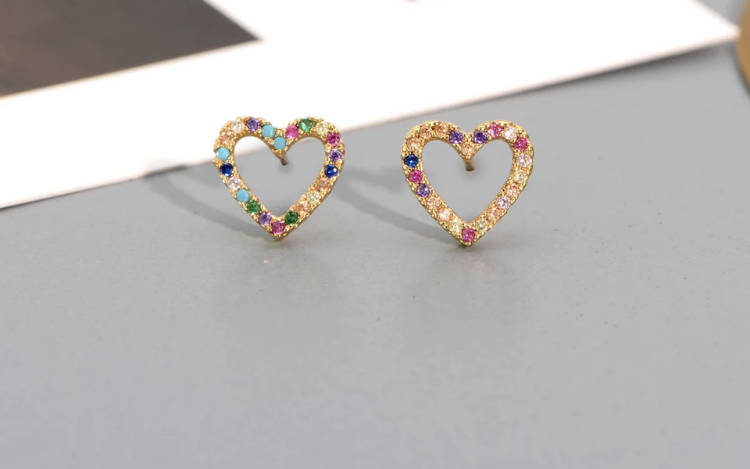Colorful heart earrings