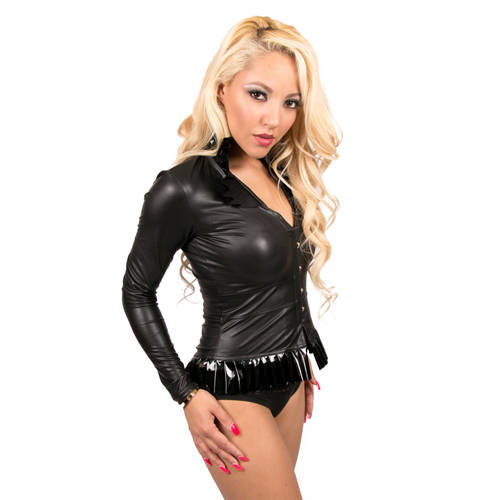 Wetlook Top - Zwart