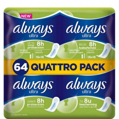 4 pak a'64st Always maandverband – Ultra Normaal (Quattro Pack)