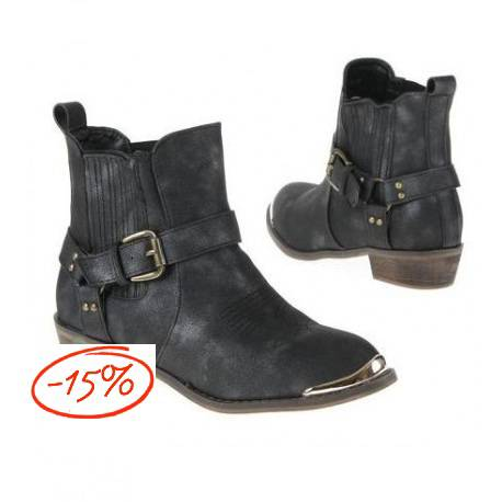 Dames-Enkelaars (8376-black!37)