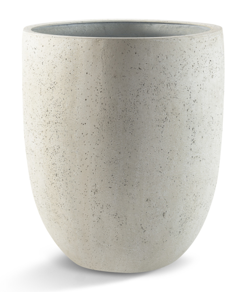 Grigio Tall Egg pot Antique white  concrete