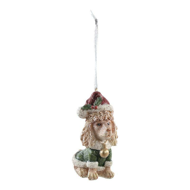 Christmas dog poly glitter poedle with cap hang PTMD