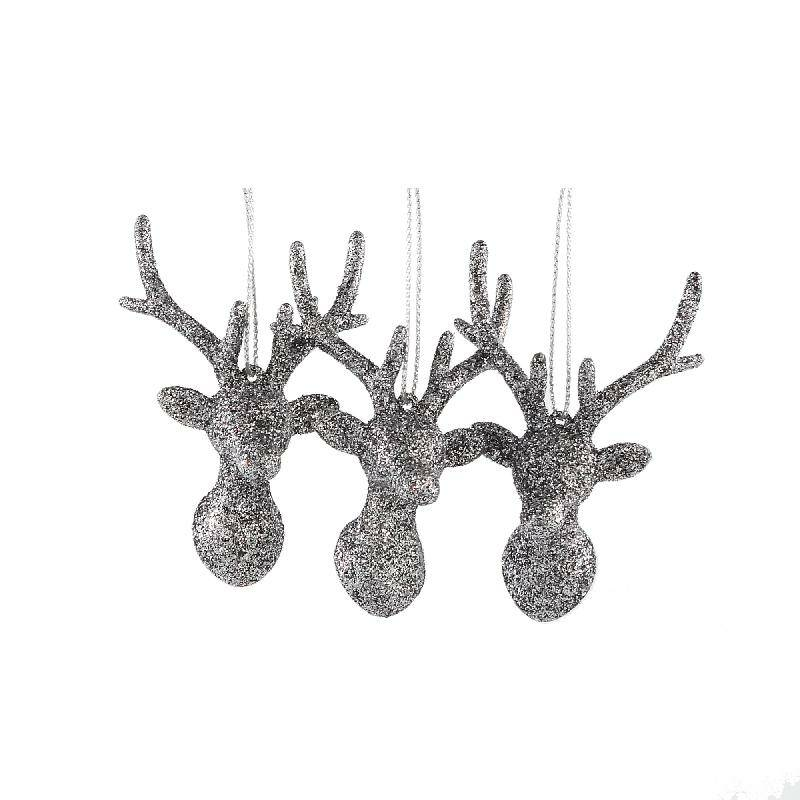 Splendy grey synthetic deerhead set of 3