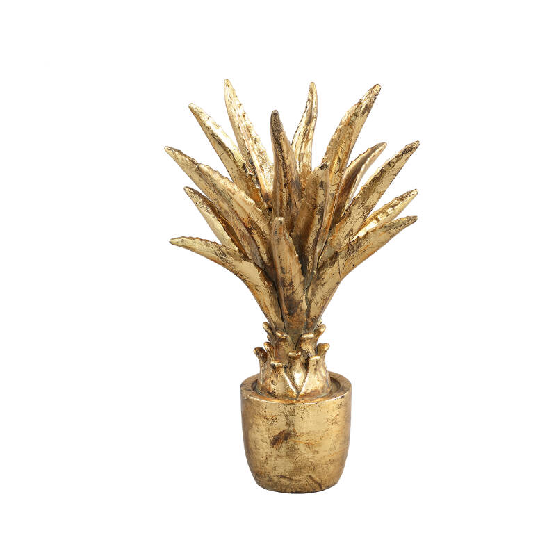 Kenny Antique Gold poly palm kandelaar hoog