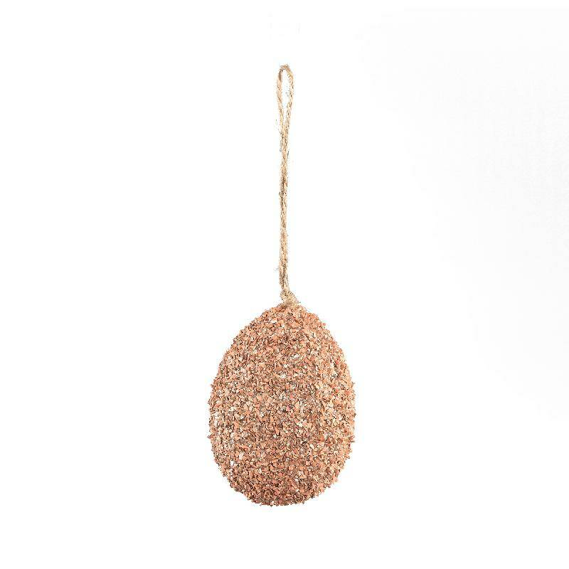 DARCI PINK GLITTERS EASTER POLY HANGING EGG