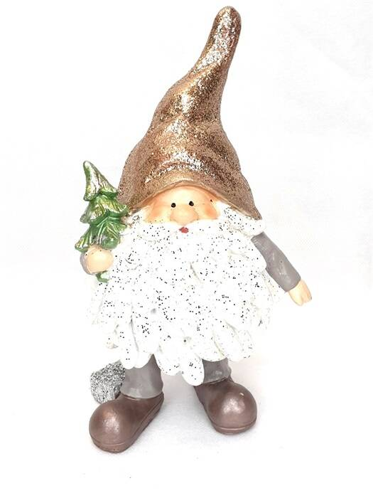 Chubby Santa Goldhat with Christmastree 12*10*20.5cm