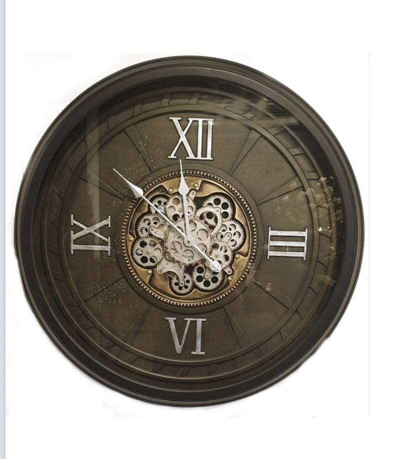 Gear Clock Glaucous/Silver 4digit with Glass Dia80*10.5cm
