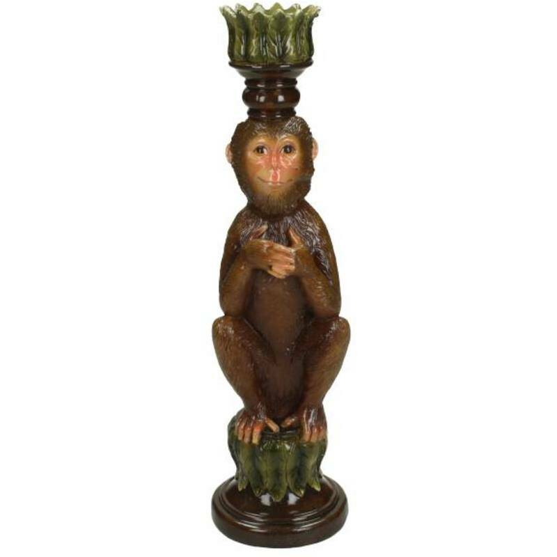 Candle Holder Monkey Brown 26x7x8cm