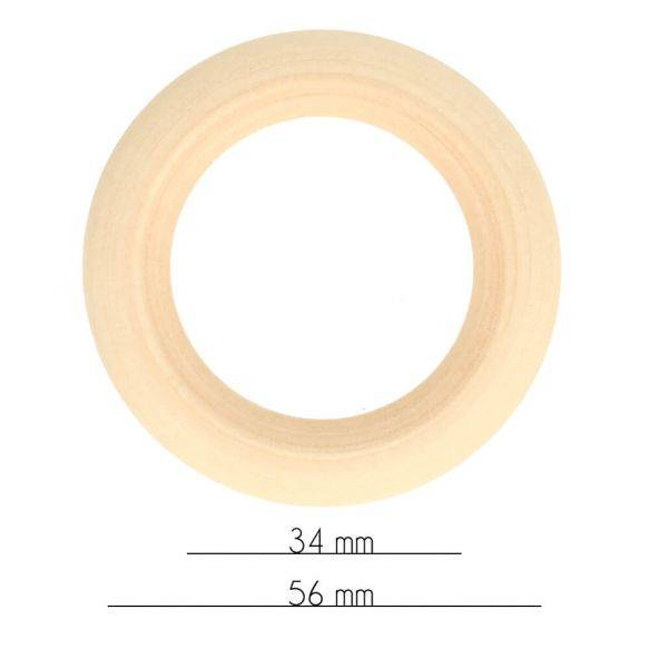 Houten Ring, Naturel, buitenmaat 56 mm