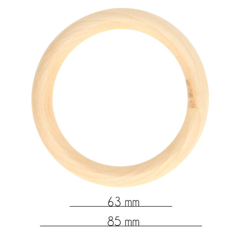 Houten ring, naturel, buitenmaat 85 mm