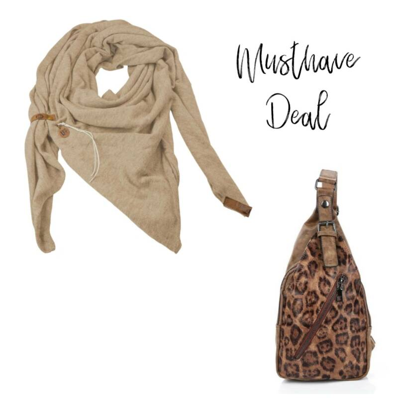 Musthave Deal - Sjaal Fien Zand & Sling Bag Panther