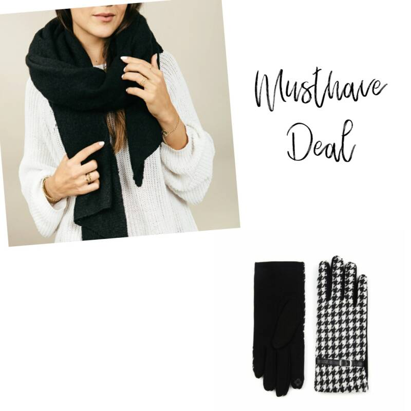 Musthave Deal - Sjaal Maeve Black & Handschoenen Blocked Black/White