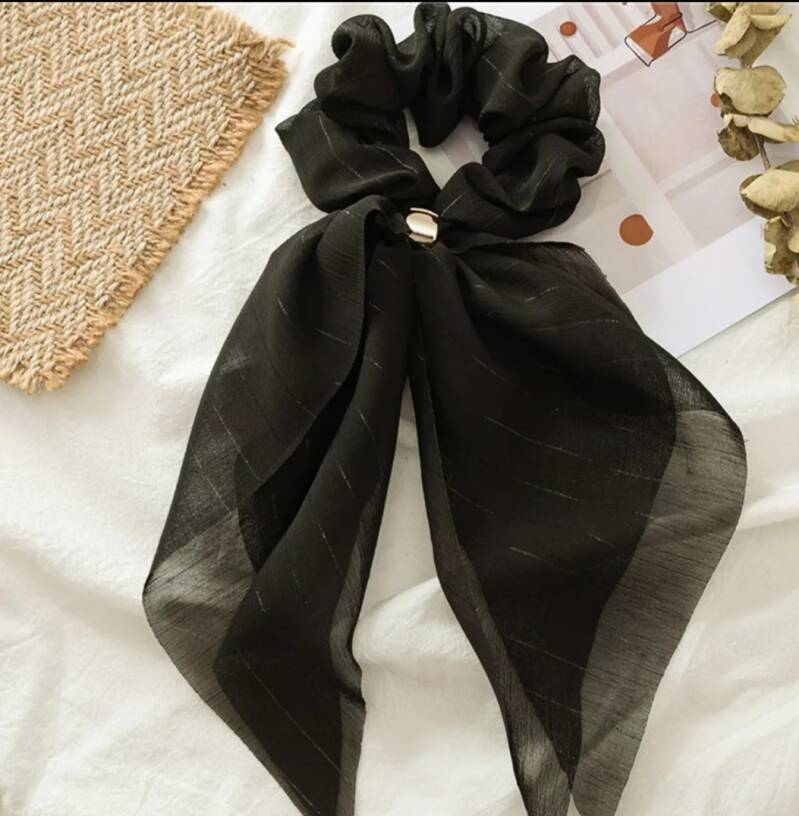 Scrunchie met lint - Romantic Black