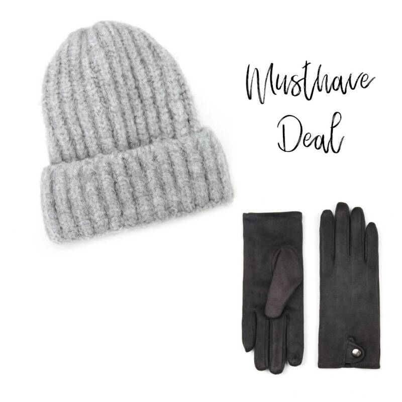 Musthave Deal - Muts Grijs & Handschoenen Dark Grey