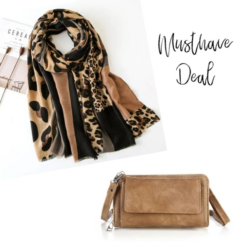 Musthave Deal - Sjaal Animal Brown & Portemonneetas Camel