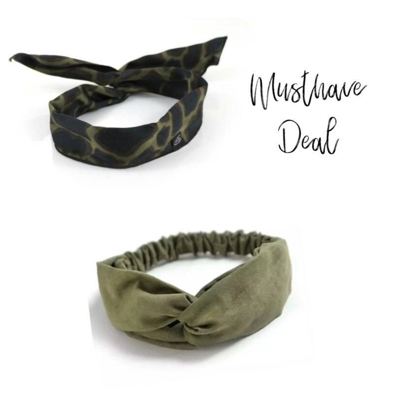 Musthave Deal - Bandeau Cheetah Green & Haarband Army