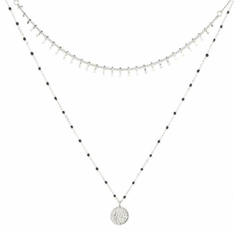 Dubbele Ketting Coin Zilver