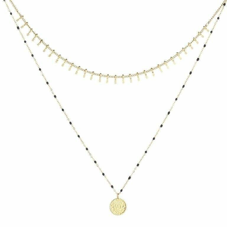 Dubbele Ketting Coin Goud