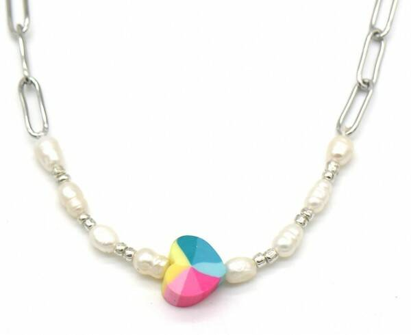Ketting Colourful Heart - Zilver