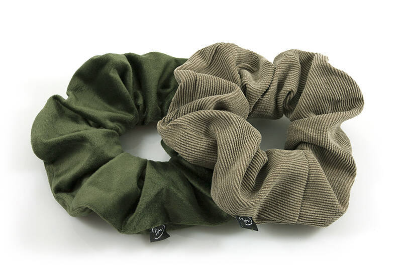 Big Scrunchie Duo - Green/Green Rib