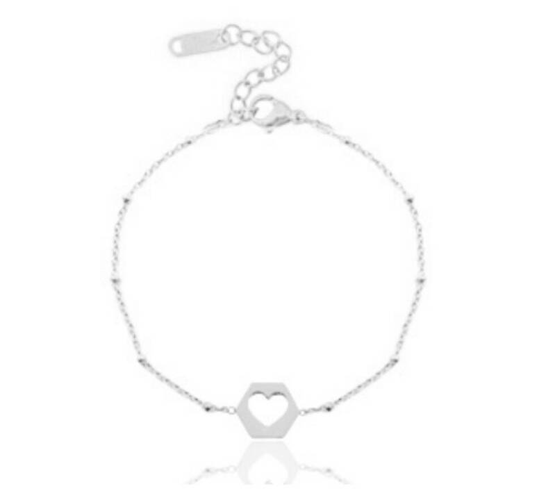 Stainless Steel armband - My Open Heart Zilver