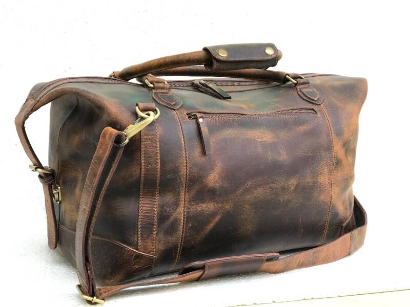 Industrial-Leather weekend - travel- bag