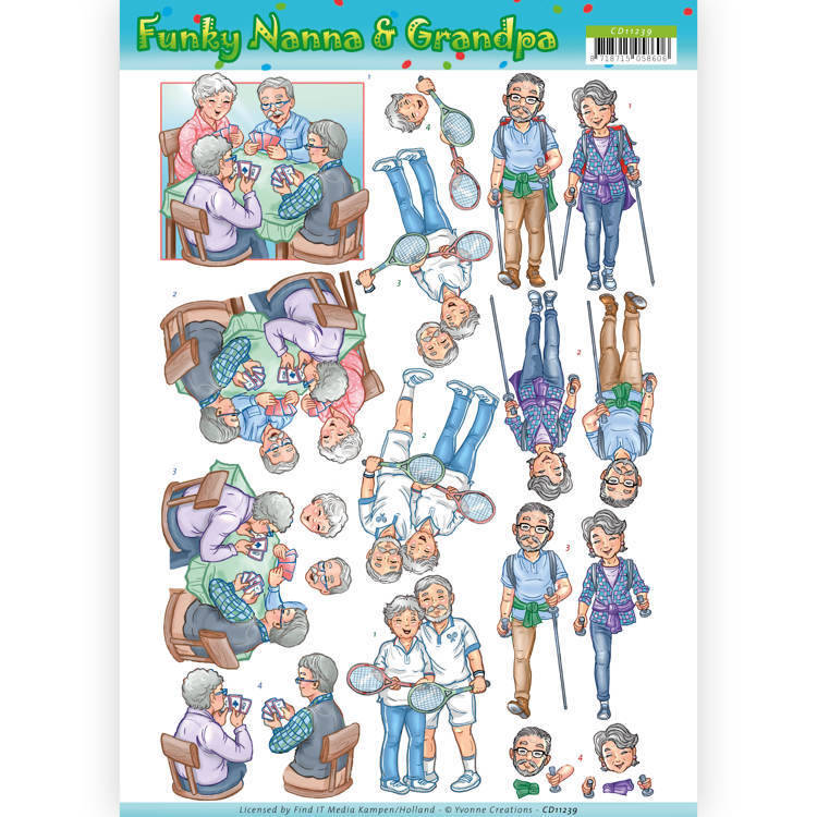Yvonne Creations, 3D Knipvel, Funky Nanna & Grandpa , Sporting Together - CD11239