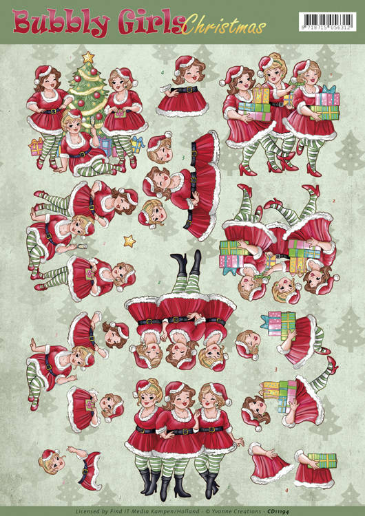 Yvonne Creations, 3D Knipvel, Bubbly Girls, Christmas, Christmas Dresses - CD11194