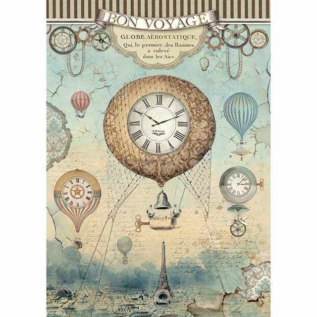 Stamperia, Rice Paper A4 , Voyages Fantastiques , Balloon - DFSA4370