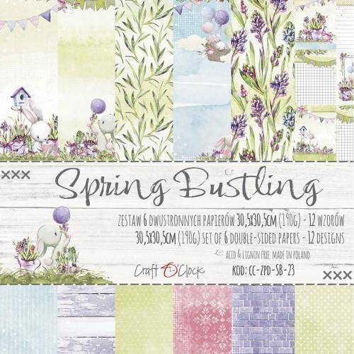 Craft O Clock , Paperpad, Spring Bustling, 12 x 12 inch