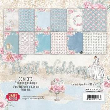 Craft & You, Paperpad, Pastel Wedding, 6x6 inch - CPB-PW15