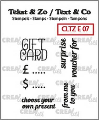 Crealies, Clear Stamp, Tekst & Zo, Gift Card (ENG)  - CLTZE07