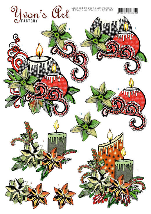 Yvon's Art, 3D Knipvel, Christmas Candles - CD11383