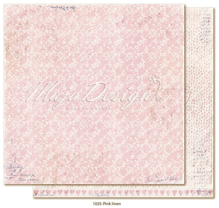 Maja Design, Scrapbookpapier, Denim & Girls, Pink Linen - DG1025