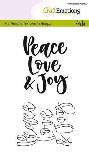 CraftEmotions, Clear Stamp, Handletter, Peace/Love/Joy - 130501/1810