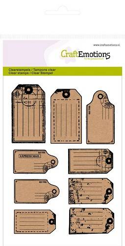 CraftEmotions, Clear Stamp, Kraft Labels  - 130501/1107
