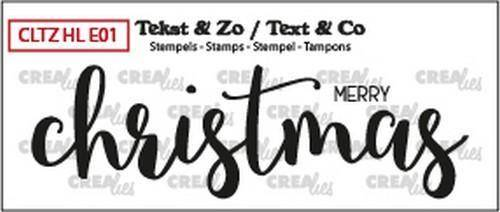 Crealies, Clear Stamp, Tekst & Zo, Handlettering, Merry Christmas  - CLTZHLE01