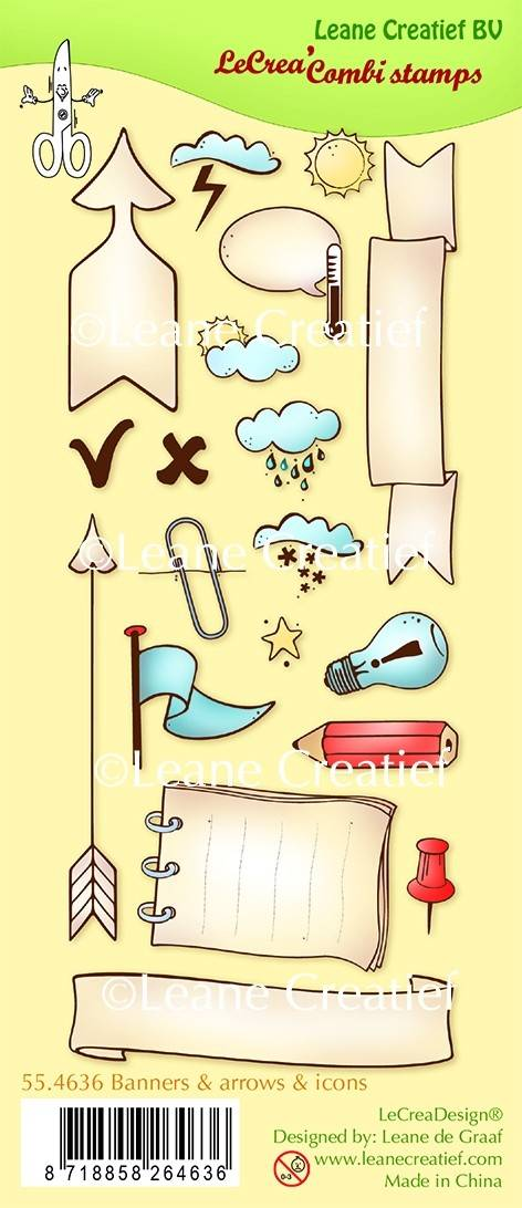 Leane Creatief, Clear Stamp, Banners/Arrows/Icons - 55.4636