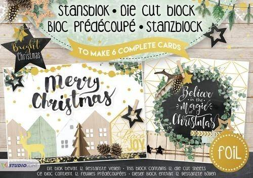 Studiolight, Stansblok, Bright Christmas (with foil) - A5STANSBLOKSL15
