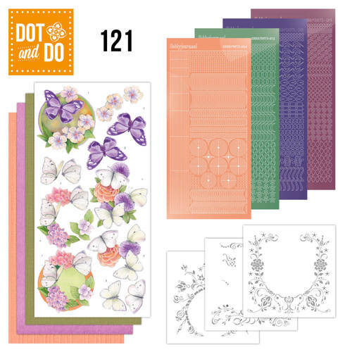 Card Deco, Dot and Do, Vlinders En Bloemen - DODO121