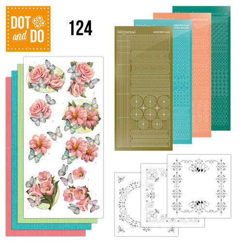Card Deco, Dot and Do, Pink Flowers and Butterflies  - DODO124