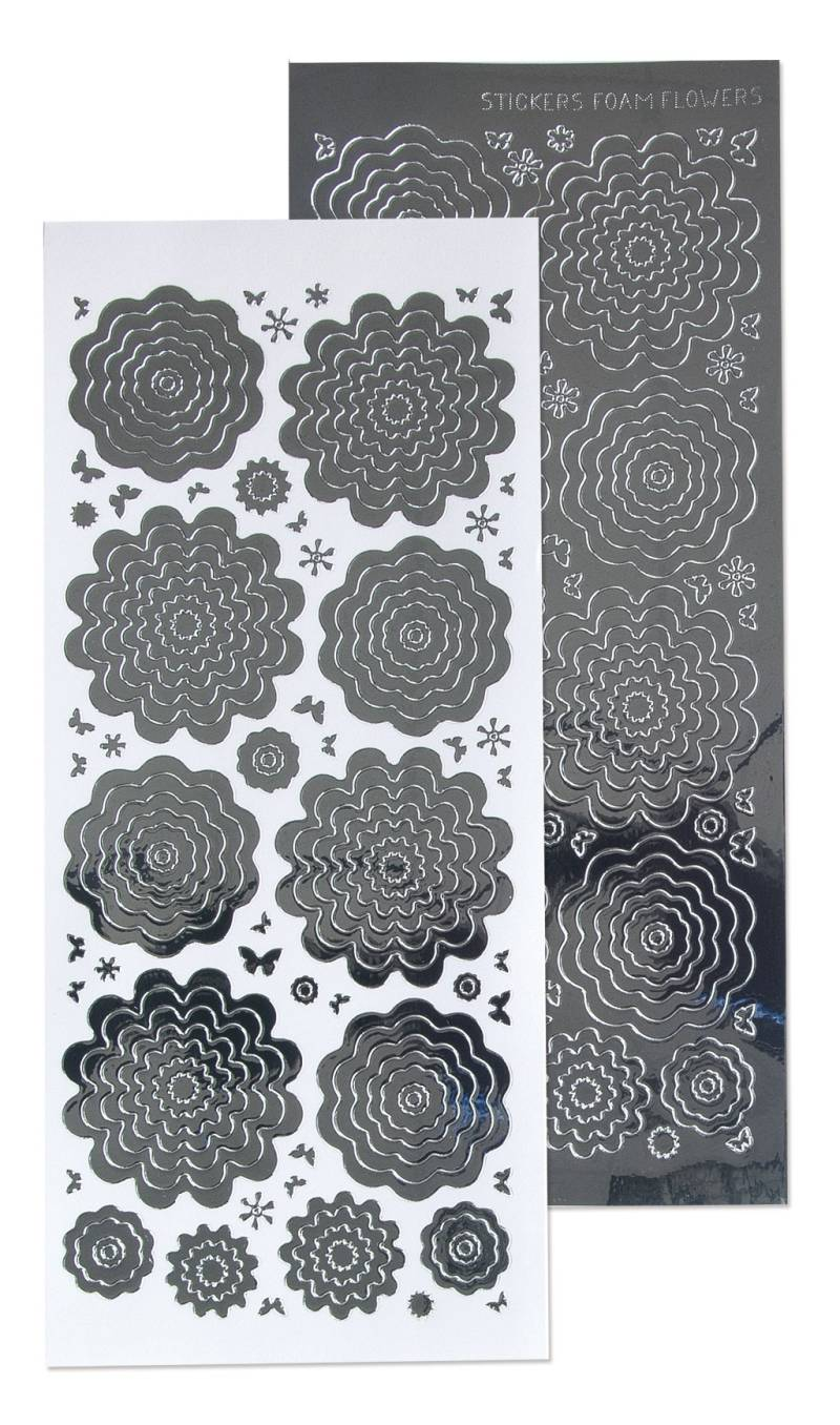 Leane Creatief, Nested Flowers Stickers, Mirror Silver - 61.5824