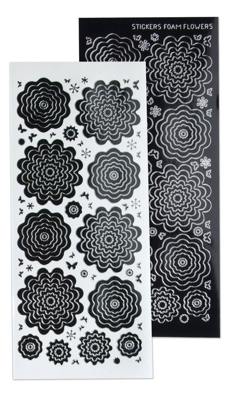 Leane Creatief, Nested Flowers Stickers, Black Silver - 61.5831