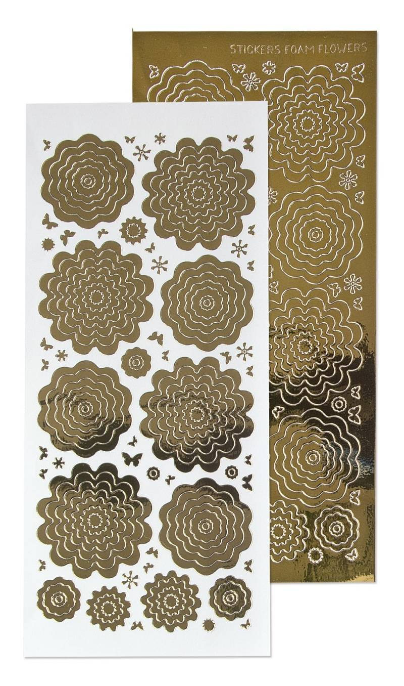 Leane Creatief, Nested Flowers Stickers, Mirror Gold - 61.5862