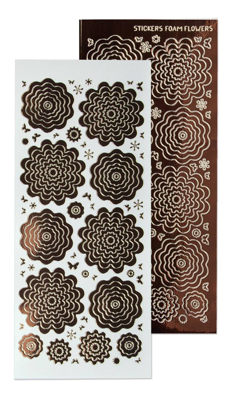 Leane Creatief, Nested Flowers Stickers, Mirror Brown - 61.5879