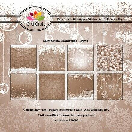 Dixi Craft, Paperpad, Snow Crystal Background / Brown - PP0090