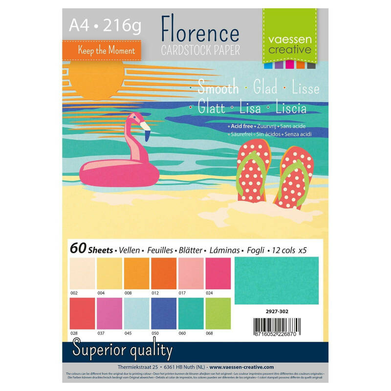 Florence, Cardstock Smooth, Summer , A4, 60 vel - 2927-302