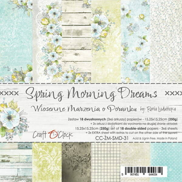 Craft O Clock, Paperpad, Spring Morning Dreams, 15,25 x 15,25 cm